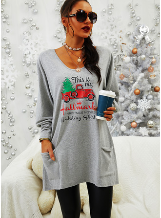 Round Neck Long Sleeves Regular Christmas Print Letter Pockets Christmas Sweatshirt
