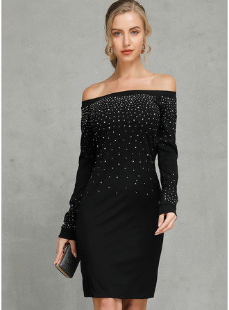 Sequins Solid Bodycon Off the Shoulder Long Sleeves Midi Casual Sexy Dresses