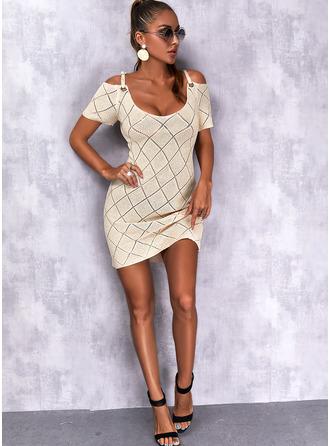 Cold Shoulder Short Sleeves Regular Solid Casual Sweater Dresses