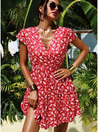 Floral Print A-line V-Neck Cap Sleeve Midi Casual Vacation Skater Dresses