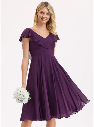 V-neck Knee-Length Chiffon Bridesmaid Dress With Cascading Ruffles