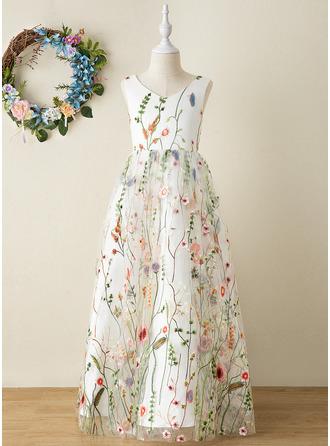 A-Line Floor-length Flower Girl Dress - Jacquard Sleeveless V-neck With Flower(s)/Bow(s)