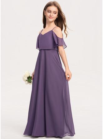 V-neck Floor-Length Chiffon Junior Bridesmaid Dress