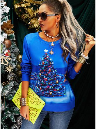 Round Neck Long Sleeves Regular Christmas Print Christmas Sweatshirt