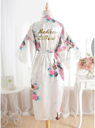 Silk Mom Floral Robes Glitter Print Robes
