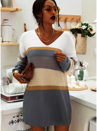 Color Block Striped A-line V-Neck Long Sleeves Mini Casual Dresses