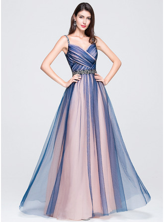 A-Line/Princess Sweetheart Floor-Length Tulle Prom Dresses With Ruffle Beading Sequins