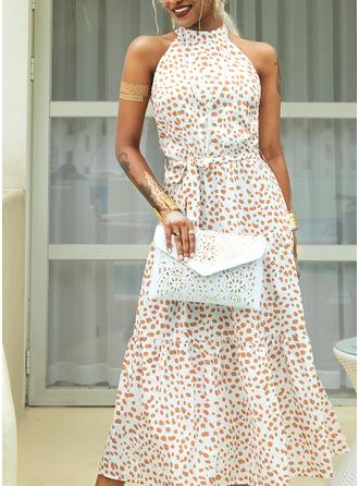 Print Halter Sleeveless Maxi Dresses