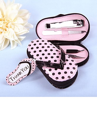 Stainless Steel Manicure Kit With Pink Polka Dot Flip Flop Case