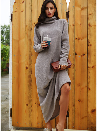 Solid Shift High Neck Long Sleeves Maxi Casual Dresses