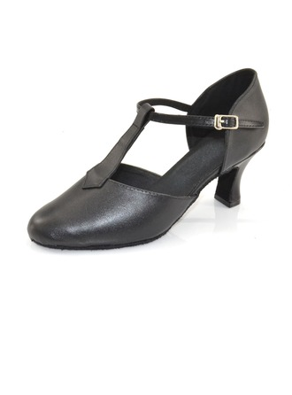 Women's Real Leather Heels Pumps Ballroom With T-Strap Dance Shoes