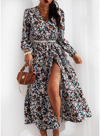 Floral Print A-line V-Neck Long Sleeves Midi Casual Skater Dresses