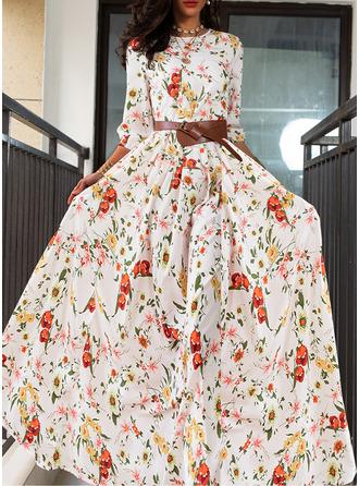 Floral Print A-line Round Neck 3/4 Sleeves Maxi Elegant Skater Dresses