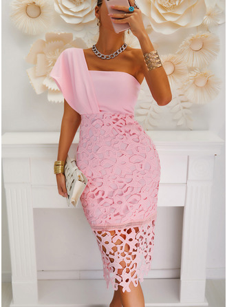 Lace Solid Bodycon One Shoulder Short Sleeves Midi Party Sexy Pencil Dresses