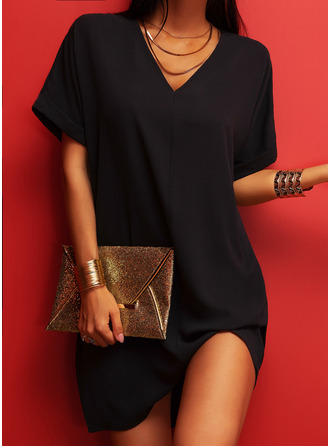 Solid Shift V-Neck Short Sleeves Midi Casual Little Black Dresses