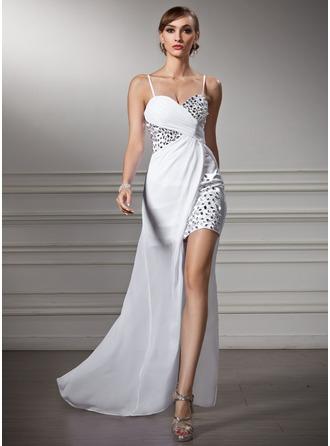 Sheath/Column Sweetheart Asymmetrical Chiffon Prom Dresses