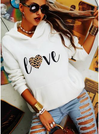 Long Sleeves Regular Print Leopard Heart Hoodie
