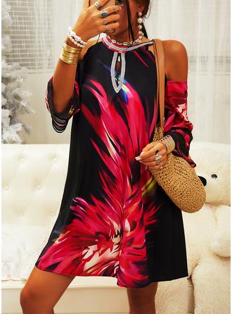 Print Shift Cold Shoulder 3/4 Sleeves Midi Elegant Tunic Dresses