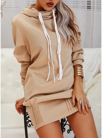 Solid Shift Long Sleeves Midi Casual Sweatshirt Dresses