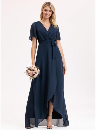 V-Neck Short Sleeves Asymmetrical Dresses