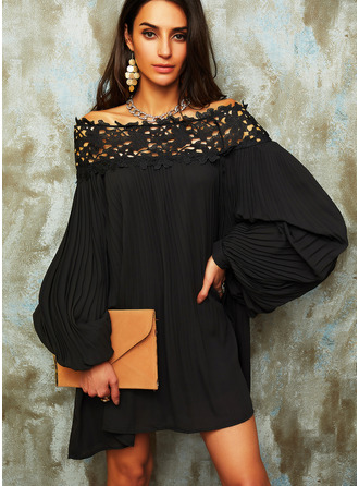 Lace Solid Shift Off the Shoulder Long Sleeves Midi Elegant Little Black Dresses