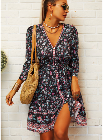 Floral Print A-line V-Neck 3/4 Sleeves Midi Boho Casual Vacation Skater Dresses