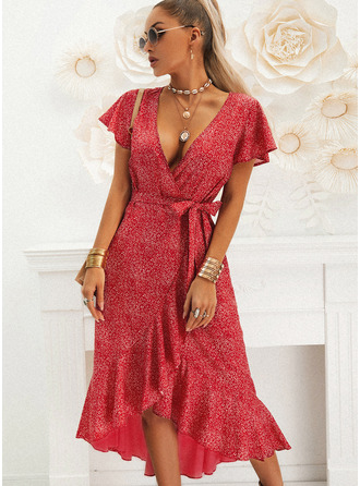 Print A-line V-Neck Short Sleeves Asymmetrical Casual Vacation Wrap Dresses