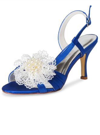 Women's Cloth Stiletto Heel Sandals With Applique