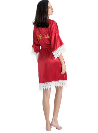Personalized Polyester Bride Bridesmaid Mom Junior Bridesmaid Lace Robes