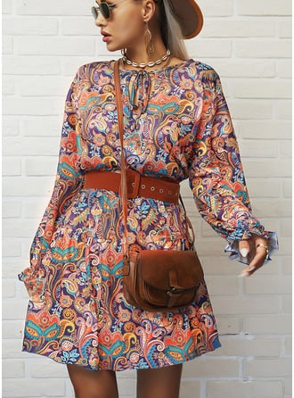 Print A-line V-Neck Long Sleeves Midi Boho Casual Vacation Skater Dresses