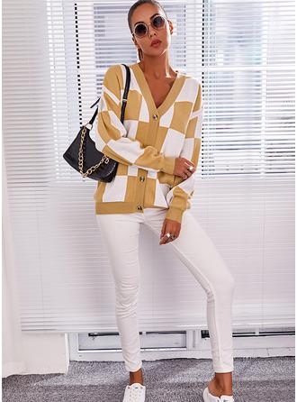 V-Neck Long Sleeves Regular Color Block Casual Cardigans
