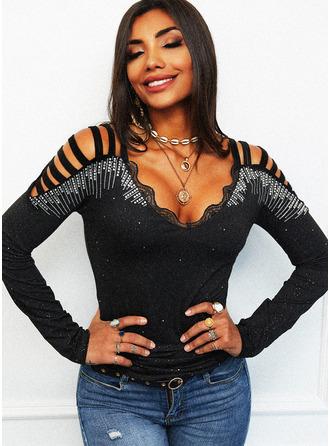 Regular Cotton Blends Cold Shoulder Lace Print Sequins Tight Blouses