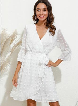 Solid Sheath V-Neck 3/4 Sleeves Midi Casual Elegant Wrap Dresses