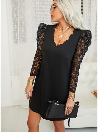Lace Solid Shift V-Neck 3/4 Sleeves Puff Sleeves Midi Elegant Little Black Tunic Dresses