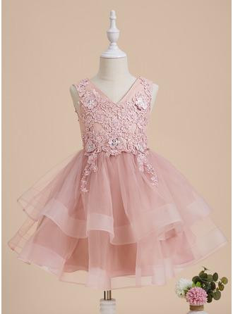 A-Line Knee-length Flower Girl Dress - Tulle/Lace Sleeveless V-neck With Beading/Flower(s)/Sequins