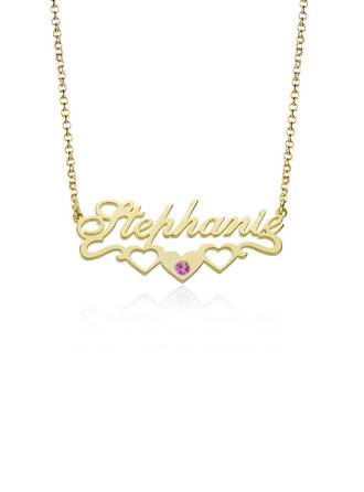 Custom 18k Gold Plated Letter Name Necklace Birthstone Necklace With Heart Birthstone - Birthday Gifts