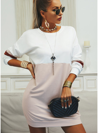 Color Block Shift Round Neck Long Sleeves Midi Casual Sweatshirt Dresses