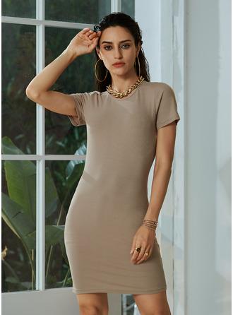 High Neck Short Sleeves Mini Dresses