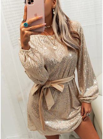 Sequins Solid Sheath Round Neck Long Sleeves Midi Party Dresses