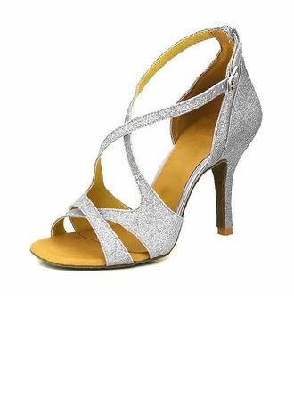 Women's Sparkling Glitter Heels Sandals Pumps Latin Dance Shoes