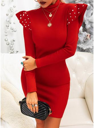Solid Beaded Bodycon High Neck Long Sleeves Midi Elegant Little Black Party Dresses