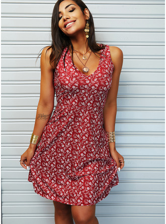 Floral Print A-line V-Neck Sleeveless Midi Casual Vacation Skater Dresses