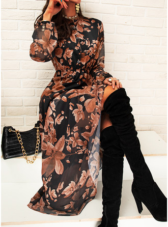 Floral Print A-line V-Neck Long Sleeves Maxi Casual Skater Dresses