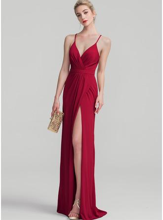 Sheath/Column V-neck Floor-Length Jersey Bridesmaid Dress With Ruffle