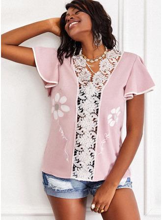 Regular Cotton Blends V-Neck Floral Lace Print Sequins Fitted Blouses