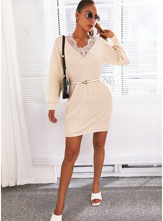 V-Neck Long Sleeves Regular Solid Casual Sweater Dresses