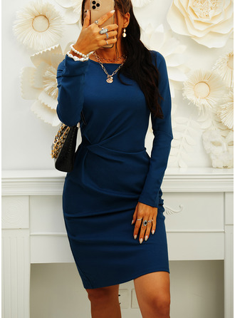 Solid Bodycon Round Neck Long Sleeves Midi Casual Elegant Little Black Pencil Dresses