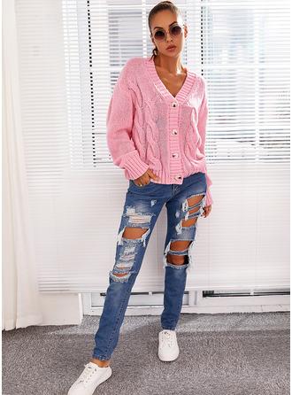 V-Neck Long Sleeves Regular Solid Casual Cardigans