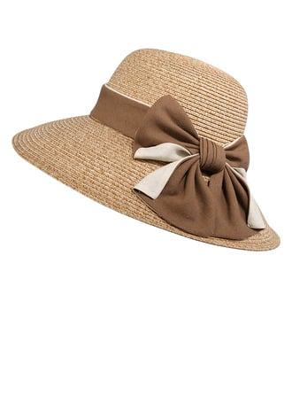 Ladies' Fancy Polyester With Bowknot Straw Hats/Beach/Sun Hats