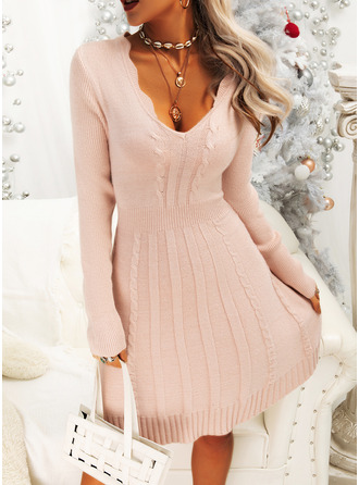 Solid V-Neck Long Sleeves Casual Dresses